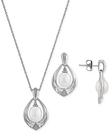"2-Pc. Set Cultured Freshwater Pearl (7 & 8mm) & Diamond (1/20 ct. t.w.) 18"" Pendant Necklace & Matching Drop Earrings in Sterling Silver"