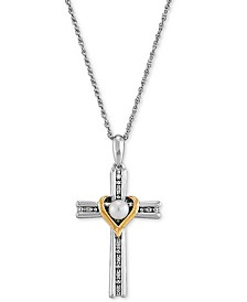 "Cultured Freshwater Pearl (4mm) & Diamond (1/20 ct. t.w.) Cross & Heart 18"" Pendant Necklace in Sterling Silver & 14k Gold-Plate"