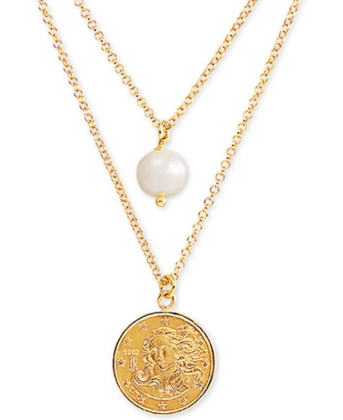 """Macy's - Cultured Freshwater Pearl (9mm) & Coin Double Layer 18"""" Pendant Necklace in 14k Gold-Plated Sterling Silver"""