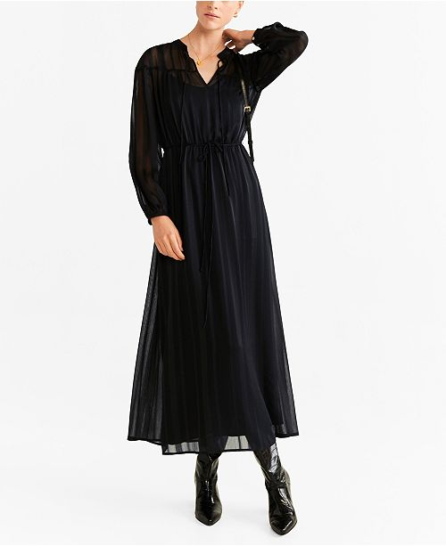 MANGO Metallic Thread Chiffon Dress