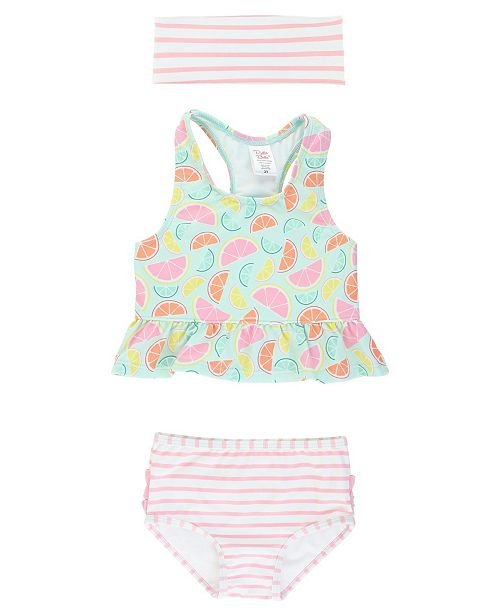 RuggedButts RuffleButts Toddler, Little and Big Girl's Peplum 2-Piece Tankini Swimsuit Swim Headband Set