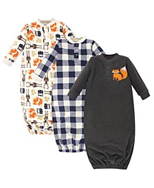 Baby Boy Fleece Gown, 3 Pack