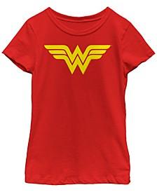 DC Comic's Big Girl's Wonder Woman Yellow Logo Short Sleeve T-Shirt