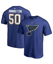 Men's Jordan Binnington St. Louis Blues Authentic Stack Name & Number T-Shirt