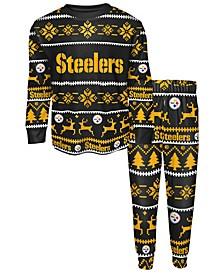 Big Boys Pittsburgh Steelers Wordmark Holiday Pajama Set