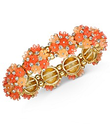 INC Gold-Tone Crystal Flower Stretch Bracelet, Created For Macy's
