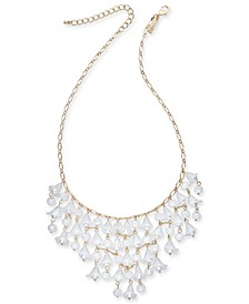 "INC Gold-Tone Bead & Imitation Pearl Shaky Flower Statement Necklace, 18"" + 3"" extender, Created for Macy's"