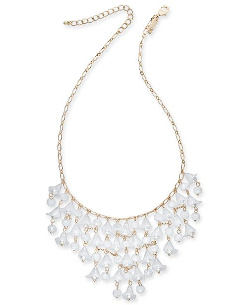 """INC International Concepts INC Gold-Tone Bead & Imitation Pearl Shaky Flower Statement Necklace, 18"""" + 3"""" extender, Created For Macy's"""