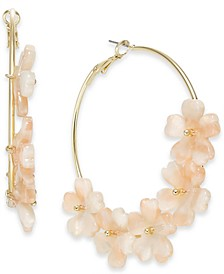 "INC Gold-Tone Large Marble-Flower Hoop Earrings, 2.25"", Created for Macy's"