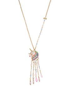 """Gold-Tone Crystal & Bead Imitation Pearl Unicorn Fringe Pendant Necklace, 28"""" + 3"""" extender"""