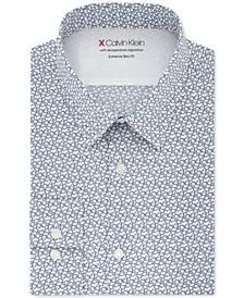 X Men's Extra-Slim Fit Temperature Regulating Stretch Blue Print Dress Shirt