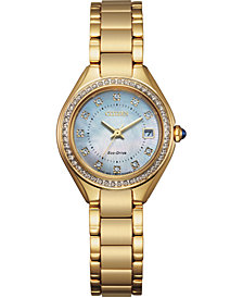 Citizen Eco-Drive Women's Silhouette Crystal Gold-Tone Stainless Steel Bracelet Watch 26mm