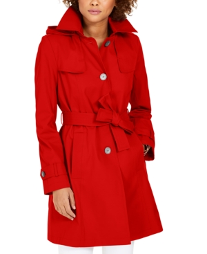 Via Spiga Belted Hooded Trench Coat In Rouge