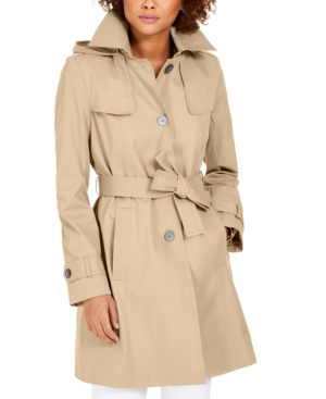Via Spiga Belted Hooded Trench Coat In Stone