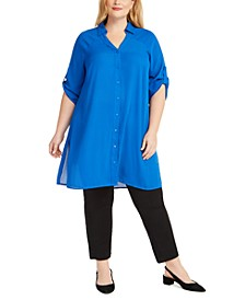 Plus Size Roll-Tab Tunic Shirt, Created for Macy's