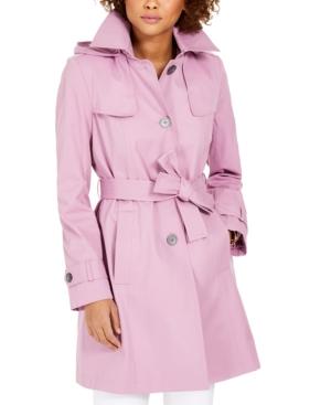 Via Spiga Belted Hooded Trench Coat In Iris