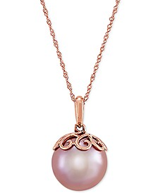 "Cultured Pink Ming Pearl (12mm) & Diamond Accent 18"" Pendant Necklace in 14k Rose Gold"