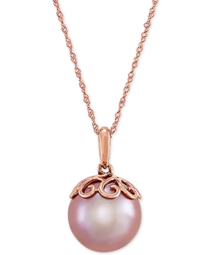 """Cultured Pink Ming Pearl (12mm) & Diamond Accent 18"""" Pendant Necklace in 14k Rose Gold"""