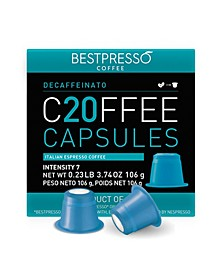 Coffee Decaffeinato Flavor 20 Capsules per Pack for Nespresso Original Machine