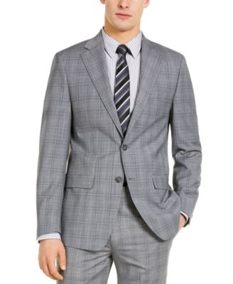 Men's X-Fit Slim-Fit Infinite Stretch Light Gray Blue Plaid Suit Separate Jacket