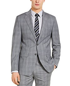 Calvin Klein Men's X-Fit Slim-Fit Infinite Stretch Light Gray Blue Plaid Suit Separate Jacket