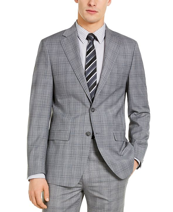 Calvin Klein Men's X-Fit Slim-Fit Infinite Stretch Light Gray Blue Plaid Suit Separate Jacket