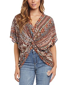 Printed Twist-Front Top