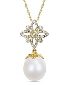 "South Sea Cultured Pearl (11-12mm) and Diamond (1/4 ct. t.w.) Floral Drop 17"" Necklace in 14k Yellow Gold"