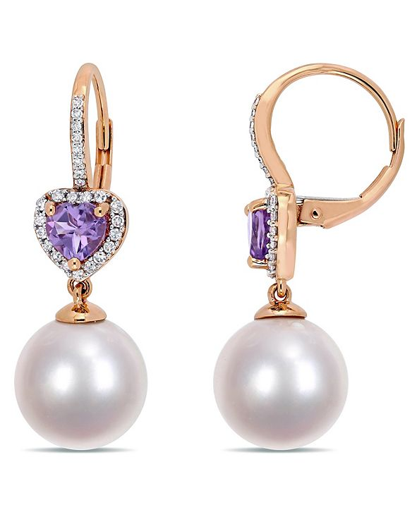 Macy's Freshwater Cultured Pearl (11-12mm), Amethyst (4/5 ct. t.w.) and Diamond (1/5 ct. t.w.) Heart Drop Earrings in 10k Rose Gold