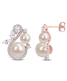 Freshwater Cultured Pearl, White Topaz (1 1/8 ct. t.w.) and Diamond (1/3 ct. t.w.) Swan Earrings in 10k Rose Gold