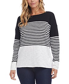 Cotton Colorblocked Striped Sweater