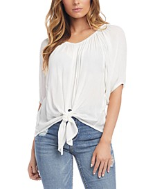 Tie-Front Shirred Top
