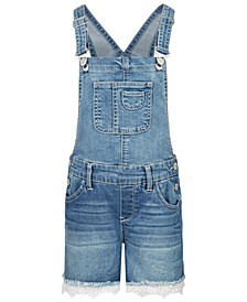 Big Girls Crochet Trim Denim Shortalls