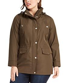 Plus Size Water-Resistant Hooded Anorak Jacket