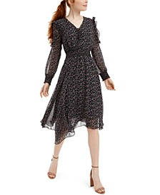 Long-Sleeve Scarf-Print Dress