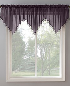 "No. 918 Crushed Voile 51"" x 24"" Beaded Sheer Ascot Valance"