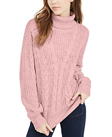 Juniors' Turtleneck Cable Knit Sweater