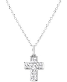 "Lab-Created Diamond Cross 18"" Pendant Necklace (1/2 ct. t.w.) in Sterling Silver"