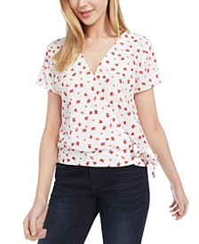 Juniors' Printed Wrap Top