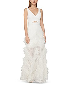 Lace & Ruched Tulle Gown