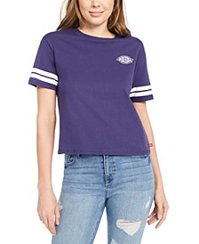Junior's Graphic Striped-Sleeve T-Shirt