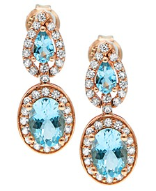 Aquamarine ( 2-3/4 ct. t.w) Diamond (5/8 ct. t.w) Earrings in 14K Rose Gold