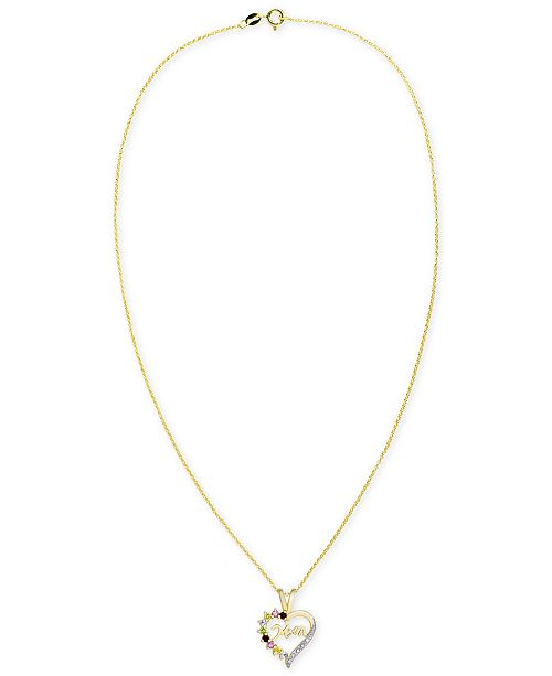 """Macy's Multi-Gemstone Mom Heart 18"""" Pendant Necklace (3/8 ct. t.w.) in 14k Gold-Plated Sterling Silver"""