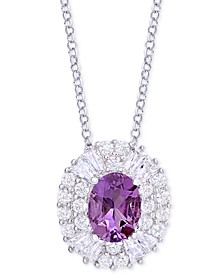 "Amethyst (1-1/5 ct. t.w.) and Cubic Zirconia 18"" Pendant Necklace in Sterling Silver"