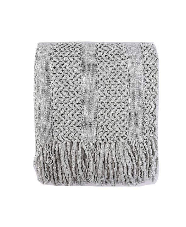 Battilo Solid Knit Mesh Tassels Throw