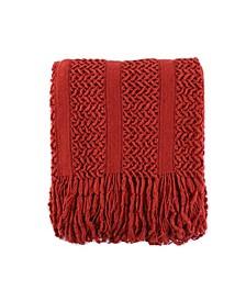 Solid Knit Mesh Tassels Throw