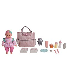 """14"""" Pretend Play Baby Doll With Diaper Bag Accessories Set"""
