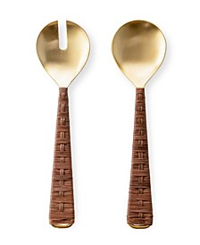 Set of 2 Gold-Tone Salad Servers with Rattan Wrapped Handles