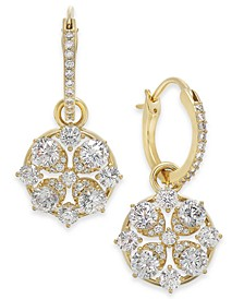Cubic Zirconia Cluster Charm Hoop Earrings, Created for Macy's
