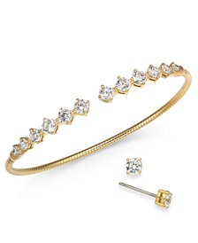 Cubic Zirconia Bangle Bracelet & Stud Earrings Set, Created for Macy's
